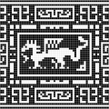 Орнамент с драконом монохром