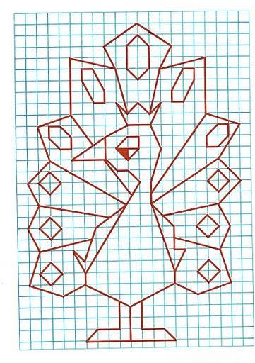 Рисунок по клеткам Павлин